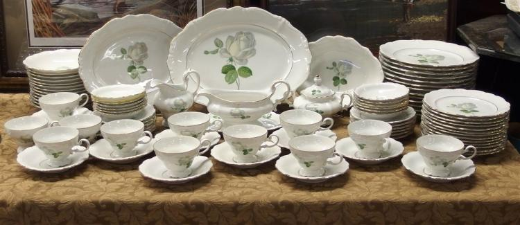 Johann Haviland Bavaria 'White Rose' 81 pc. China Set, Mint Condition, Service for 12
