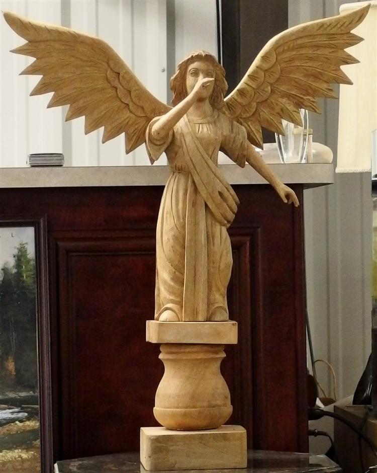 Large Carved Wooden Angel, 3pc. 33H x 27W