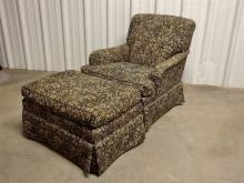 Lot 153: Heirloom Furniture, Hickory NC Arm Chair with Ottoman, Black with Tan & Grey Upholstery