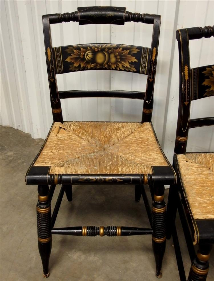 Lot 156: 2 Antique Hitchcock Chair, Rush Seat, Stenciled, Signed
