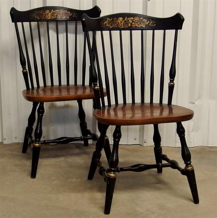 2 Vintage Hitchcock Chairs, Maple Seat, Stenciled, Signed