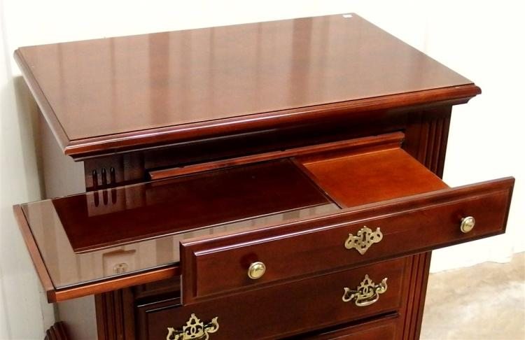 Lot 159: Mahogany Night Stand with 4 Drawers, Glass top Slide out