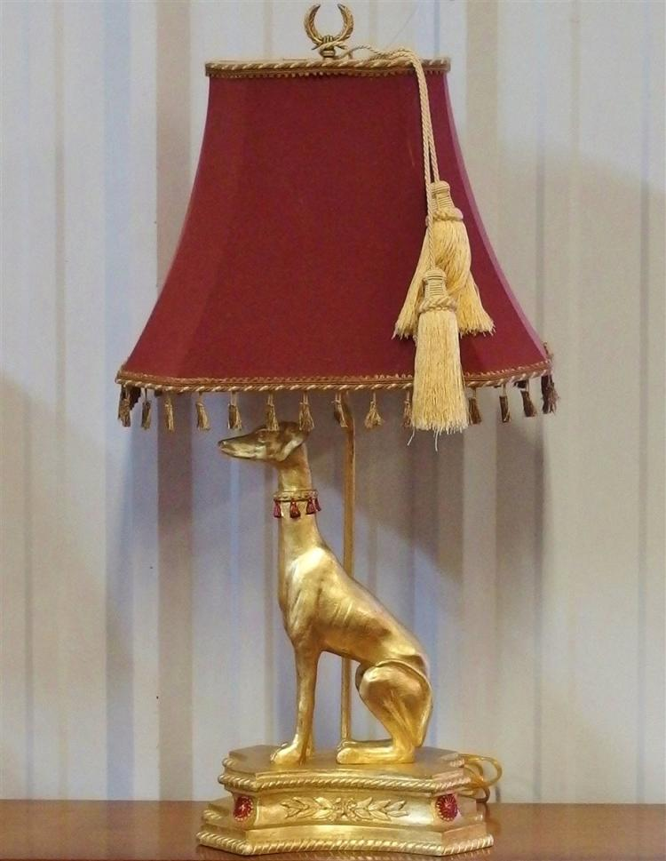 Greyhound Dog Lamp with Gold Finish, 30H
