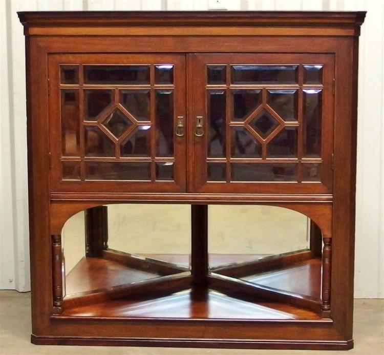 Antique Mahogany Hanging Corner Cupboard, Bevel Glass, Mirror Back Shelf