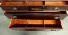 Lot 163: Vintage Mahogany 5-Drawer Chest, Patera Inlay, Solid Wood