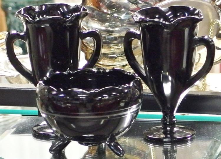 Lot of 3 Black Amethyst Glass - Silver Overlay Footed Bowl 5D, Pair Trophy Vases 6H