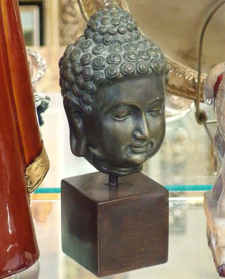 Wood Carved Buddha Bust on Stand, 9H