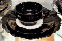 """Lot 187: 18 pc. LE Smith Black Amethyst Glass Breakfast Sets, 6 - 8"""" Plates, 6 Cups & Saucers"""