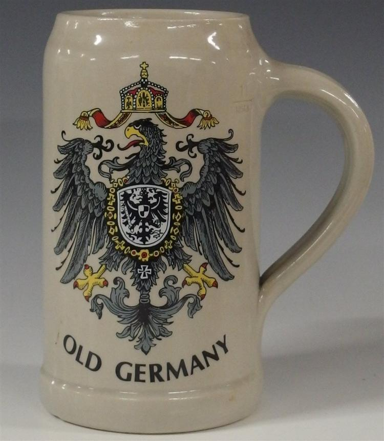K&T Kunst Palette Rignitzlosau Stoneware Beer Stein, Old Germany, 7-1/2