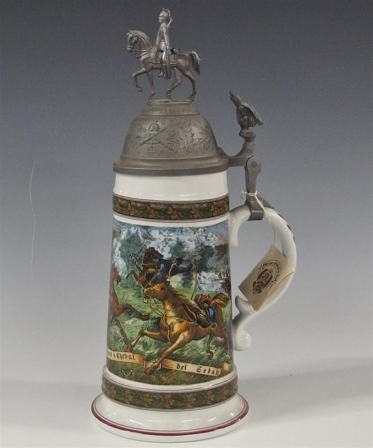 House of Global Art Beer Stein with Pewter Lid, Battle Scene with Horses, 11-1/2H