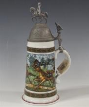 Lot 190: House of Global Art Beer Stein with Pewter Lid, Battle Scene with Horses, 11-1/2H