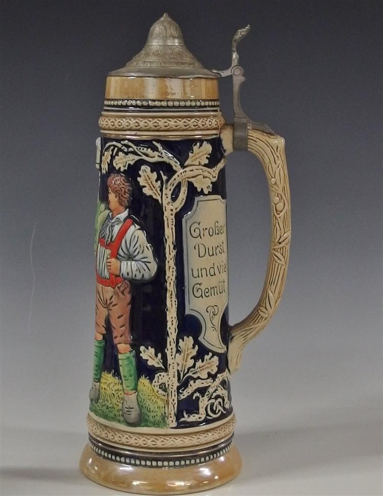 Lot 191: German Beer Stein, 13H