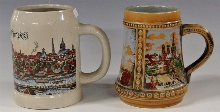 Lot of 2 - Gerz Stoneware Beer Stein 5-1/2H, Munchen Unmarked 5-1/2H