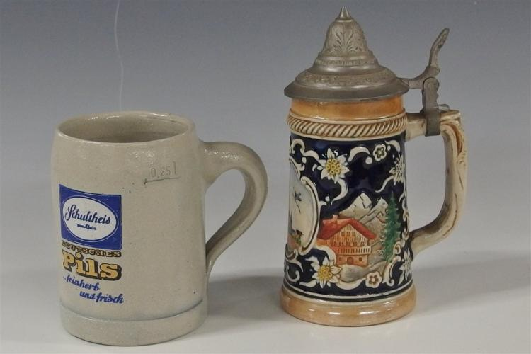 Schutheid German Beer Stein !/2 pt. 4H, Ulm/Domau Stein with Pewter Lid 6-1/2H