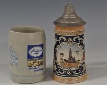 Lot 193: Schutheid German Beer Stein !/2 pt. 4H, Ulm/Domau Stein with Pewter Lid 6-1/2H
