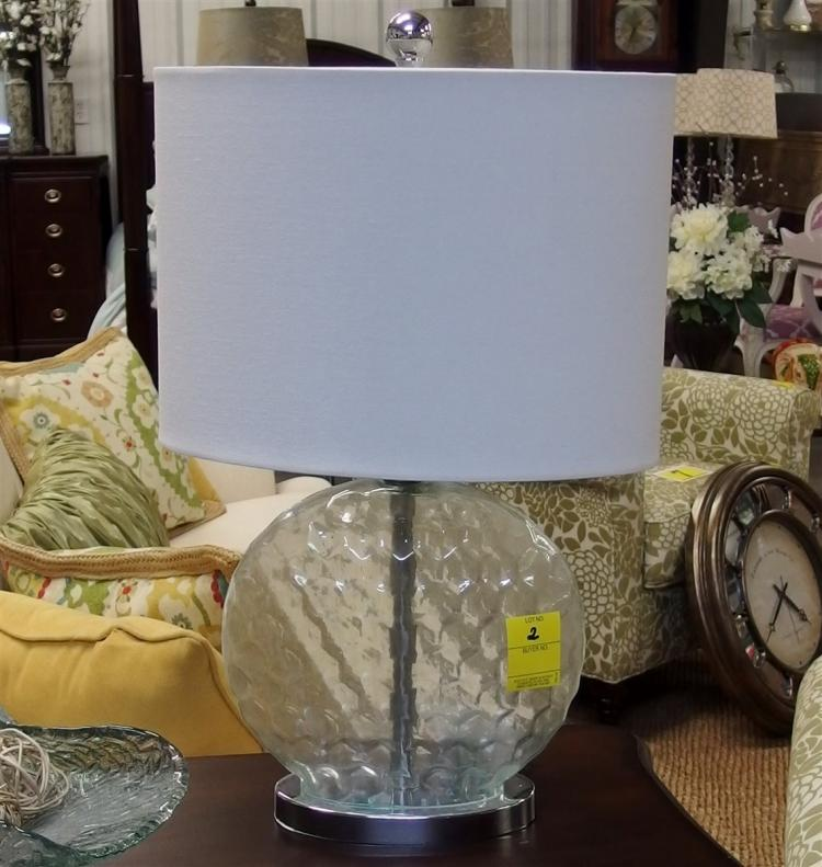 Lot 2: Light Teal Glass Honeycomb Lamp with Oval Shade, 22H