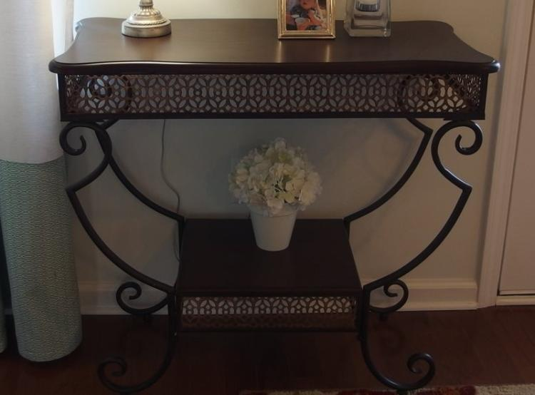 2 Tier Wrought Iron Console Table, Wood top. 31H x 34W x 17D