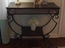 Lot 4: 2 Tier Wrought Iron Console Table, Wood top. 31H x 34W x 17D