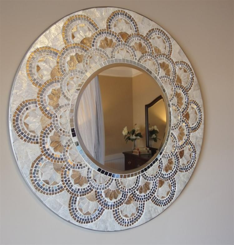 "Mother of Pearl & Abalone Mosaic Round Beveled Mirror, Large 32""D"