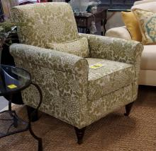 Lot 6: Green & White Arm Chair with Front Casters, 36H x 30W x 29D