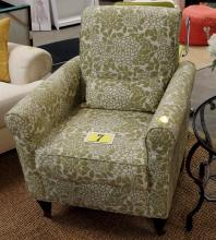 Lot 7: Green & White Arm Chair with Front Casters, 36H x 30W x 29D
