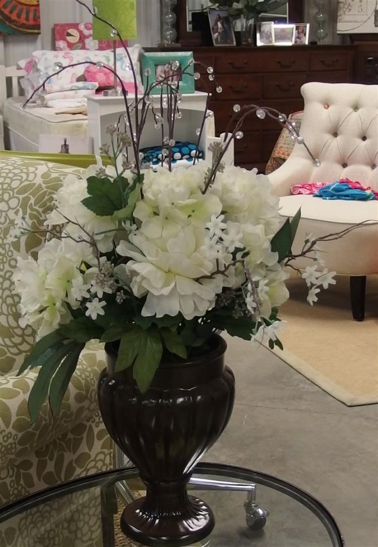 Lot 10: Silk White Chrysanthemum Planter, 28H