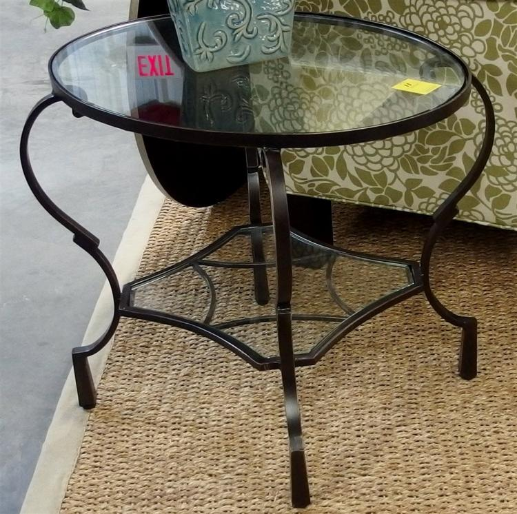 Pair of 2 Tier Oval Wrought Iron Glass Top End Tables, 20H x 24W x 18D