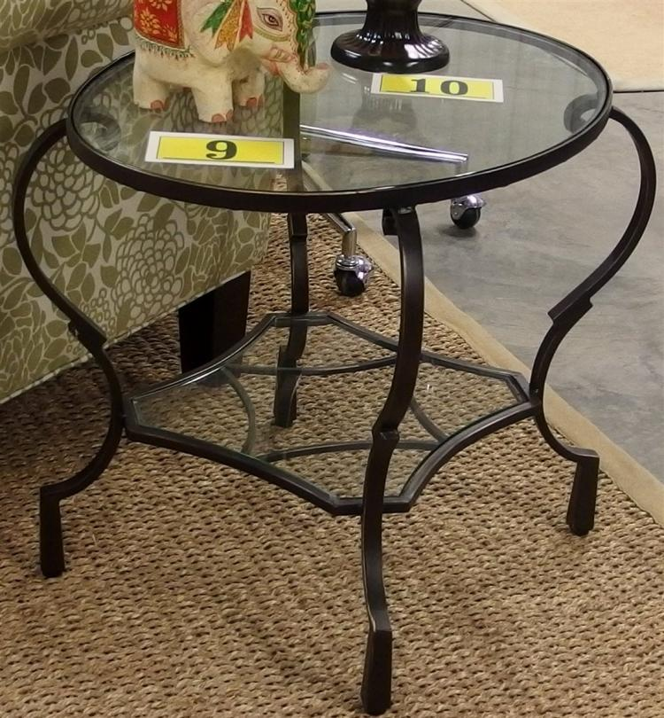 Lot 11: Pair of 2 Tier Oval Wrought Iron Glass Top End Tables, 20H x 24W x 18D
