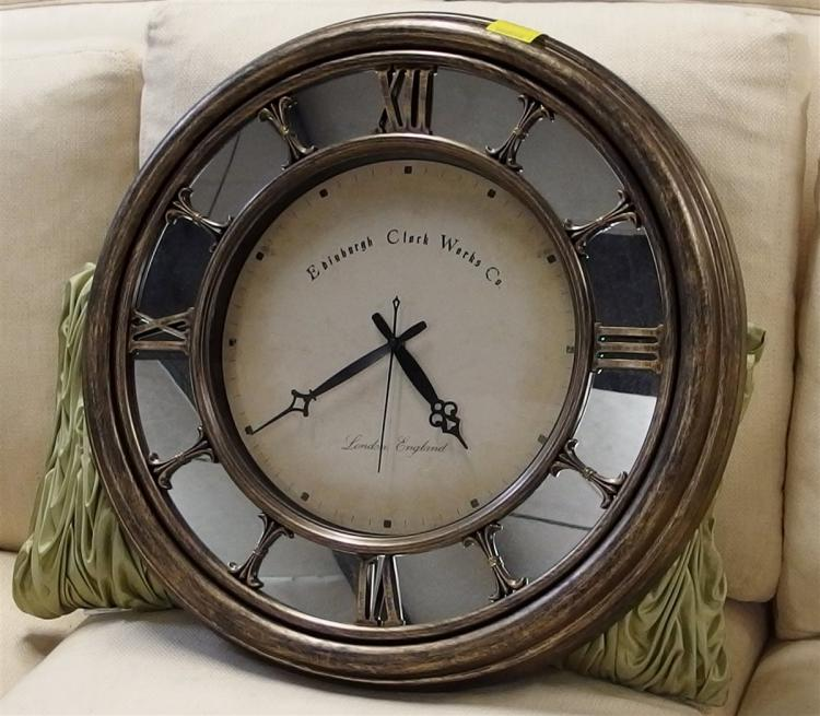 Lot 12: Edinburgh Clock Works Co. London England, Wall Clock with Mirror & Roman Numerals, Molded Plastic Frame, Quartz 22D