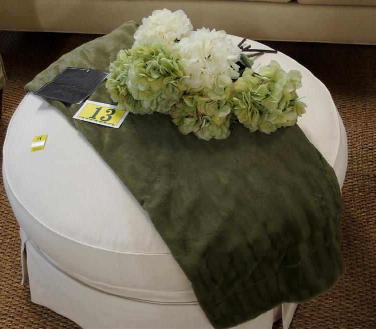 "Lot 13: Marlo Lorenz 50 x 60 Olive Green Throw, 6 Green & White Hydrangeas, 18"""