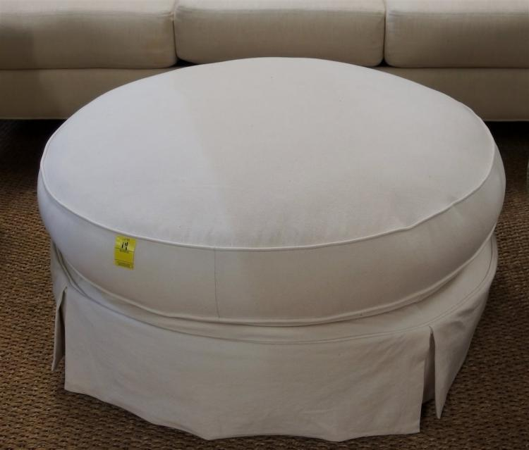 "Large 36"" Round Canvas Ottoman, Secret Zip Compartment on Bottom"