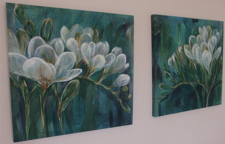 Lot 16: Pair of White Floral on Teal - Canvas Prints, Signed Carson, 30 x 30
