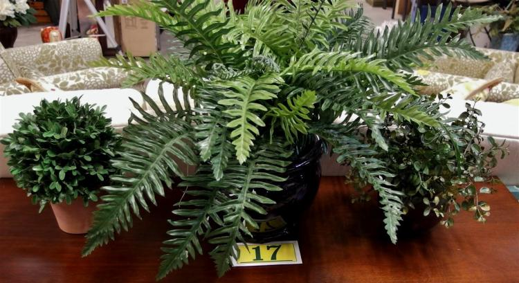 Lot of 3 Artificial Plants – Fern Planter, 20H, 2 Holly Plants 10H