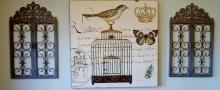 Lot 19: Katheryn White Birdcage - Large Canvas Print, Brass studded, 48 x 48