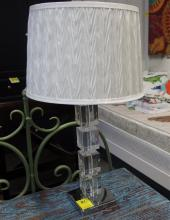 Lot 21: Pair of Lamps, Clear Acrylic Cube Column, White Textured Shade, 23H