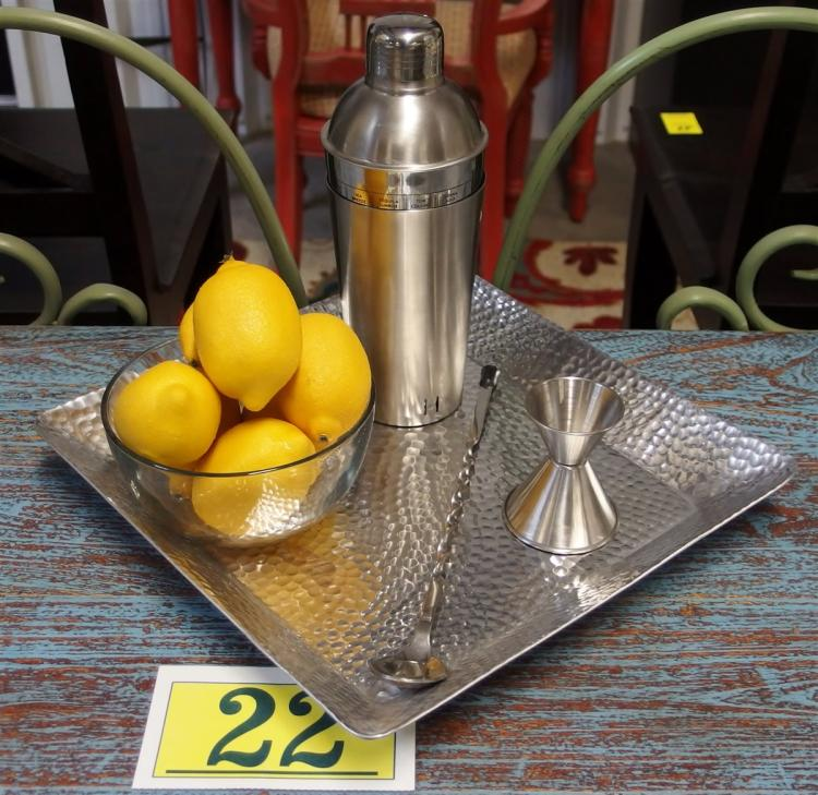 "Lot 22: 5pc. Bar Set – 12-1/2"" Hammered Aluminum Tray, Chefmate Shaker with Drink Recipes, Lemon Bowl, Dbl Jigger, Stirrer"