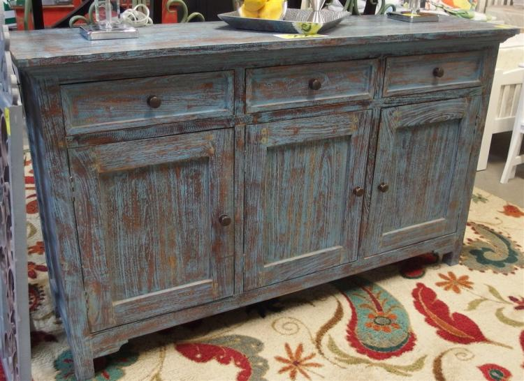 Blue Distressed Sideboard, 3 Drawers/ 3 Doors, 35H x 59W x 16D