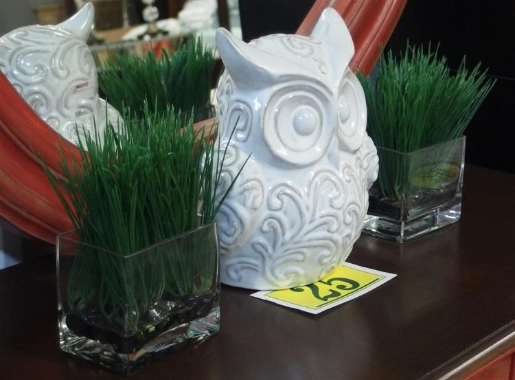 "Lot of 3 – White Ceramic 10"" Owl, 2 Artificial Grass Plants 8"""