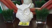 "Lot 25: Lot of 3 – White Ceramic 10"" Owl, 2 Artificial Grass Plants 8"""