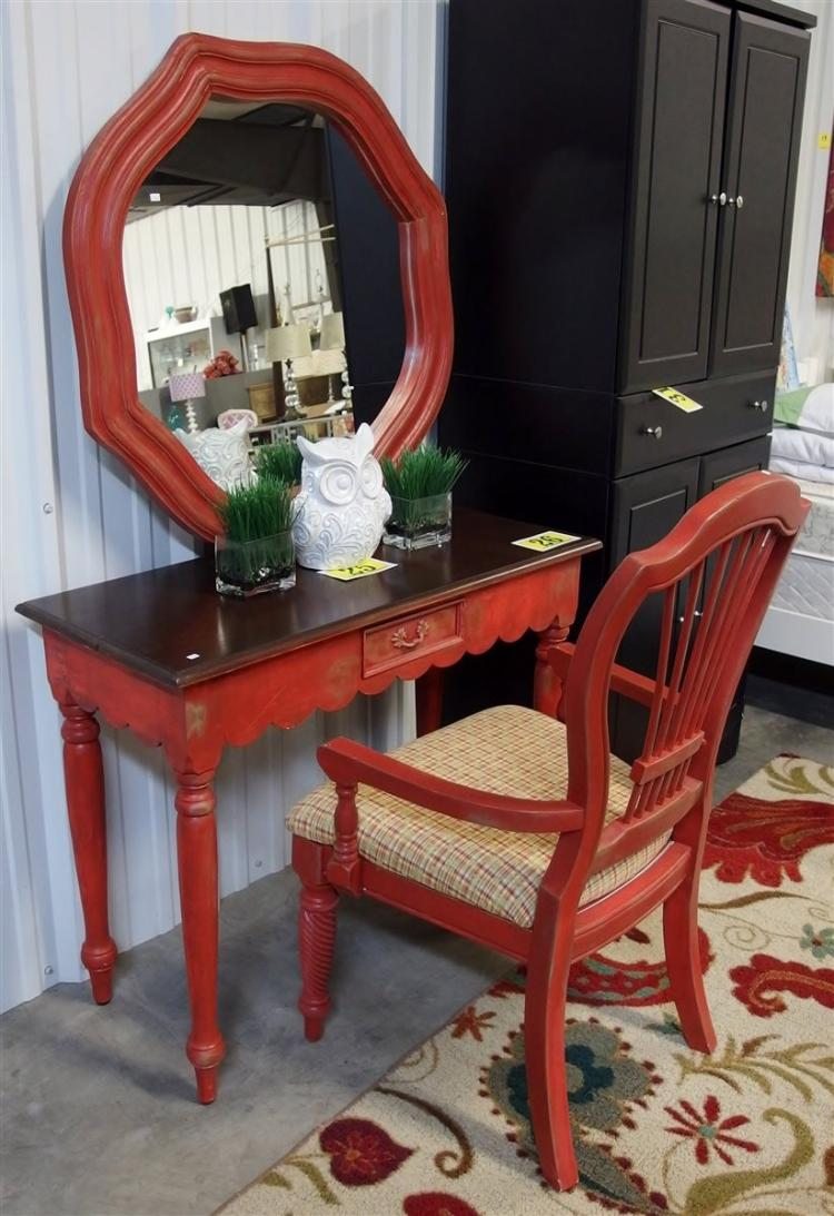Red Distressed Writing Table, Mirror & Shield-back Arm Chair