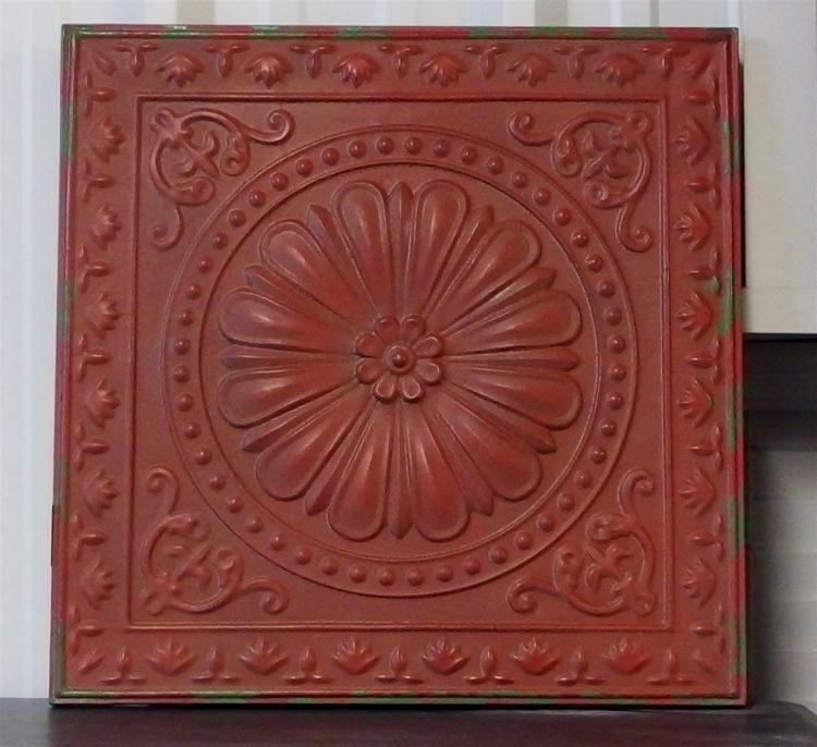 Red Distressed Metal Embossed Floral Wall Decor, 23 x 23