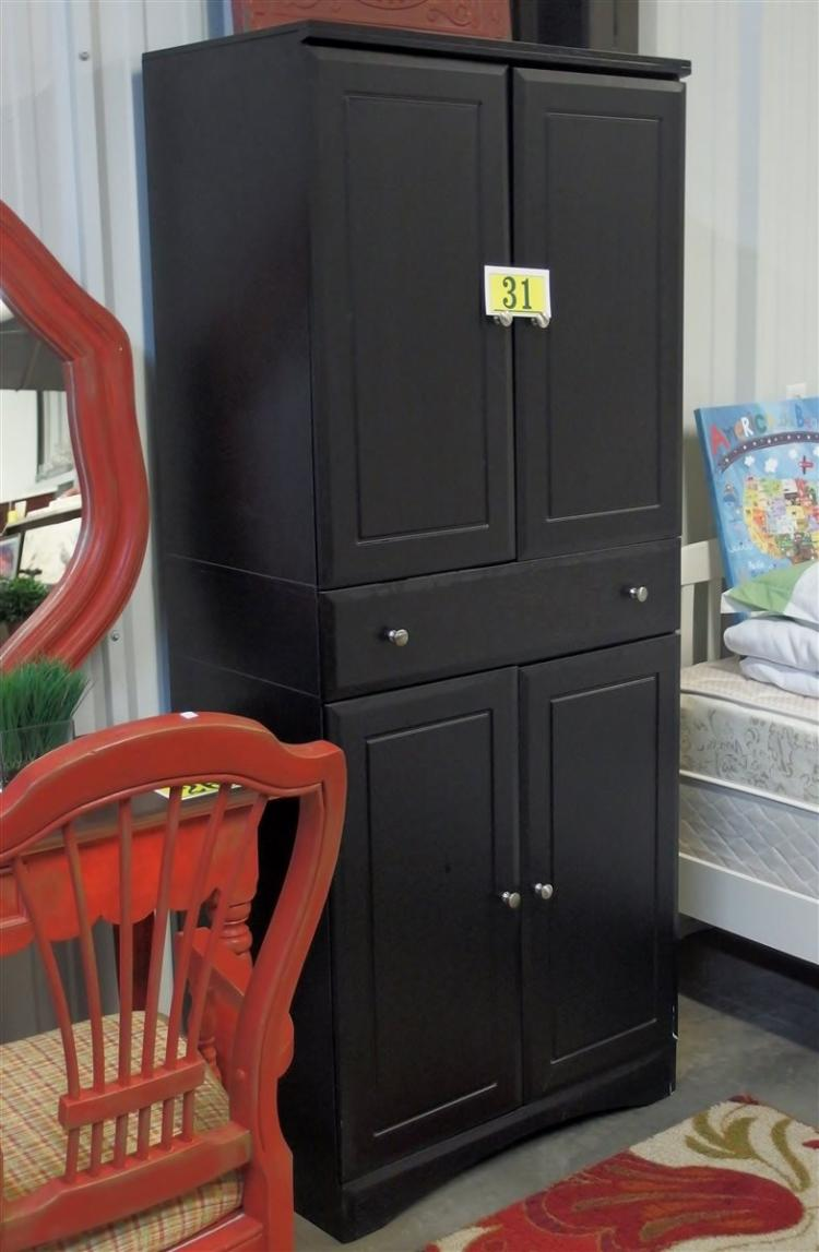 Black Cabinet, 4 Doors, One Drawer 72 x 30W x 18D