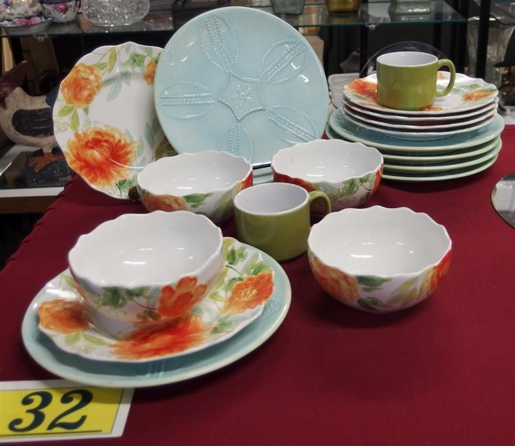"18 pc. Dinnerware – 6 Kate Williams Blue Sand Dollar Plates 10"", 6 Floral ""Haverhill"" Plates & 4 Bowls by 222 Fifth,  2 Green Cups"