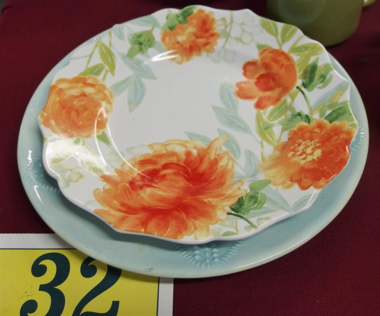 """Lot 32: 18 pc. Dinnerware – 6 Kate Williams Blue Sand Dollar Plates 10"""", 6 Floral """"Haverhill"""" Plates & 4 Bowls by 222 Fifth, 2 Green Cups"""