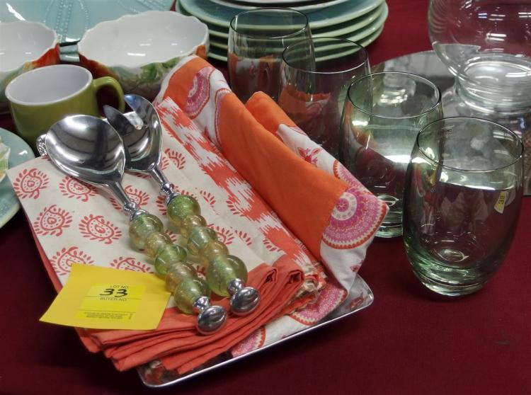 "11 pc. - Hammered Aluminum Tray 14 x 6, 4 Cotton Napkins & Apron, Acrylic & Stainless Salad Utensils, 4 Iridescent Green 5"" Glasses"