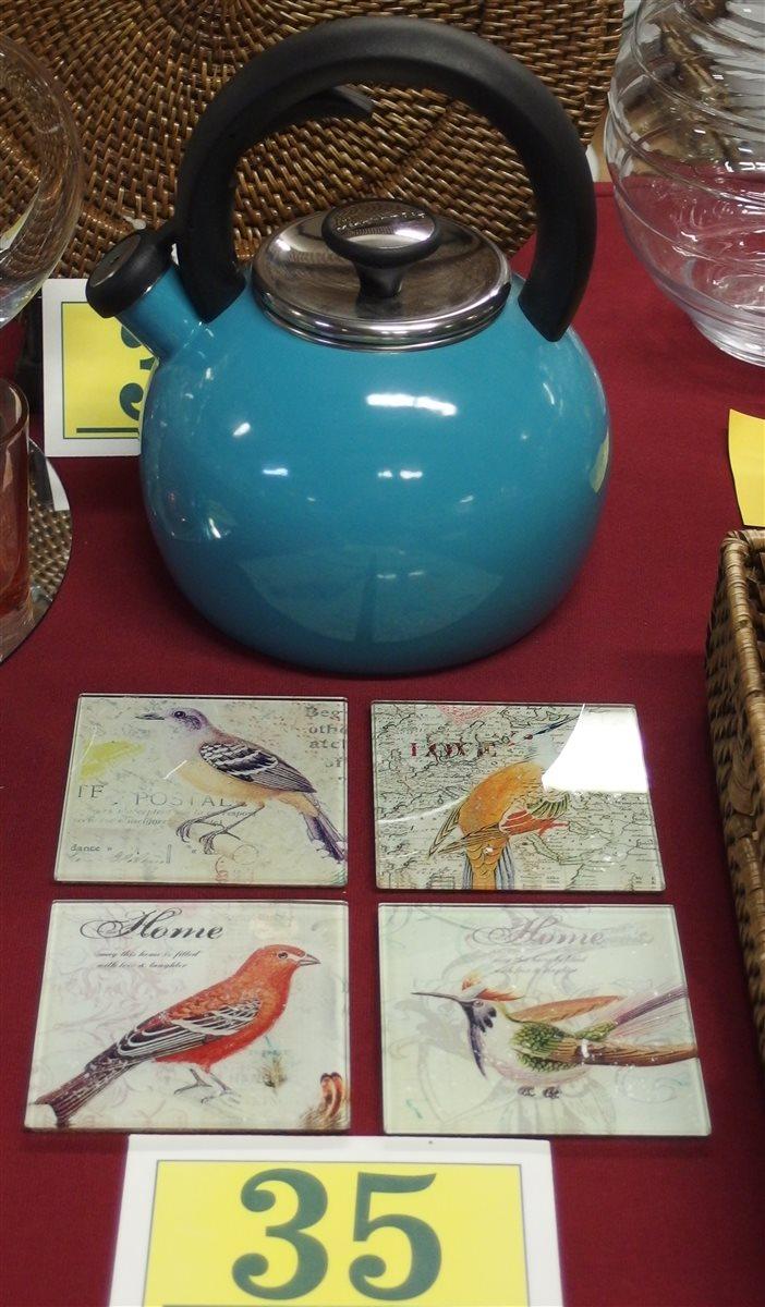 KitchenAid Teal Blue Whistling Tea Kettle (unused) 4 Glass Bird Coasters
