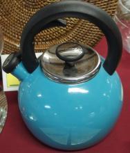 Lot 35: KitchenAid Teal Blue Whistling Tea Kettle (unused) 4 Glass Bird Coasters