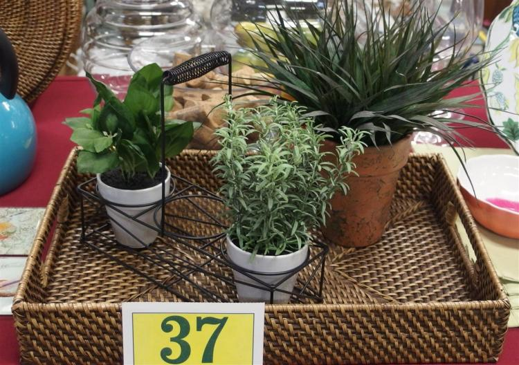 "Lot 37: Lot of 3 – Woven Tray 18 x 12-1/2"", 3 Artificial Plants & Holder"