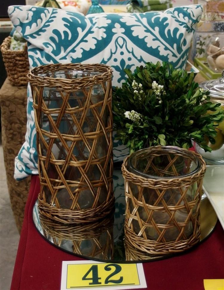 Lot of 4 – 2 Wicker & Glass Cylinder Vases 5-1/2, 10-1/2, Plant, Turquoise & White Decorator Pillow 16""