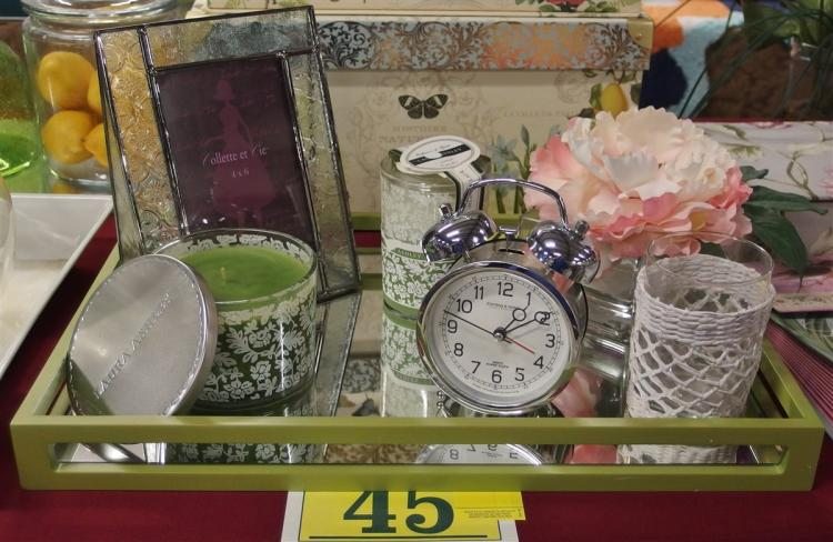 Lot of 6 – Green Mirrored Tray 12x18, Embossed Glass Frame 6-1/2 x 8-1/2, 2 Laura Ashley Scented Candles, Sterling & Noble Alarm Clock, Peony Accent Flower